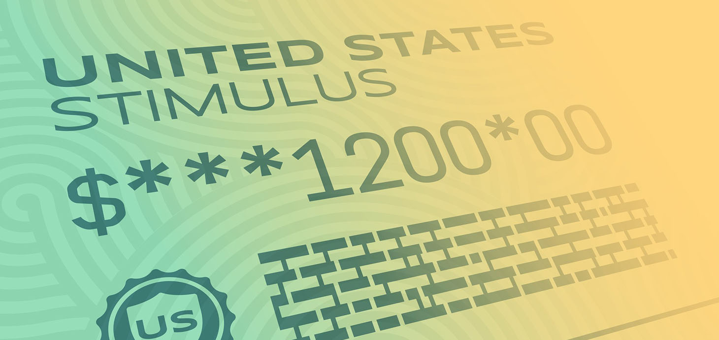 Graphic mimicking a check that says United States stimulus $1200.00 with a US stamp and barcode.