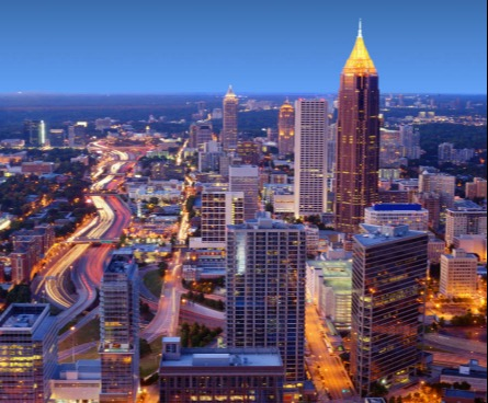 Atlanta's skyline lit up at night.
