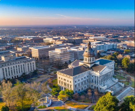 Columbia city view over the State House at sunset.