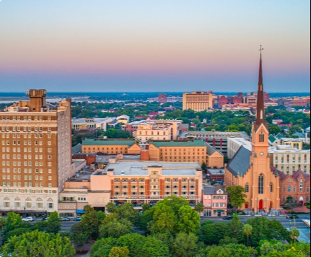 Mount Pleasant city view at sunset.