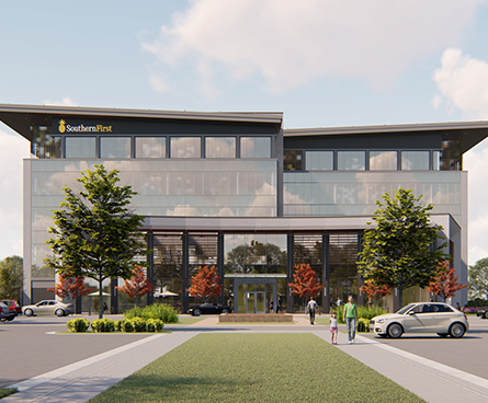 Rendering of new Greenville Southern First Headquarters.